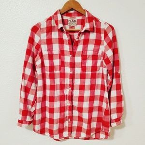 Old Navy Gingham Plaid Button Down Shirt